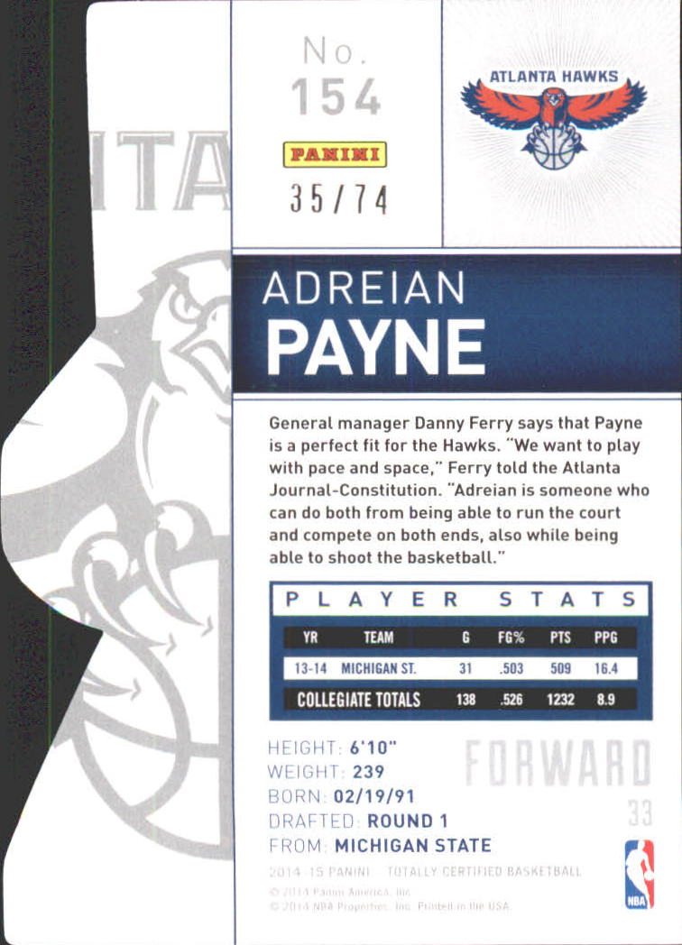 2014-15 Totally Certified Platinum Mirror Blue Die Cuts #154 Adreian Payne back image
