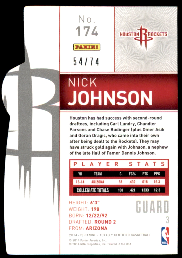 2014-15 Totally Certified Platinum Mirror Blue Die Cuts #174 Nick Johnson back image