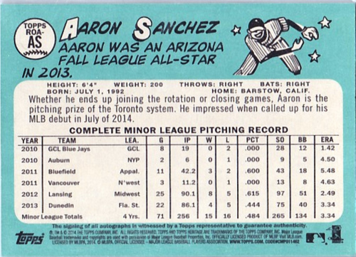 2014 Topps Heritage Real One Autographs #ROAAS Aaron Sanchez HN back image