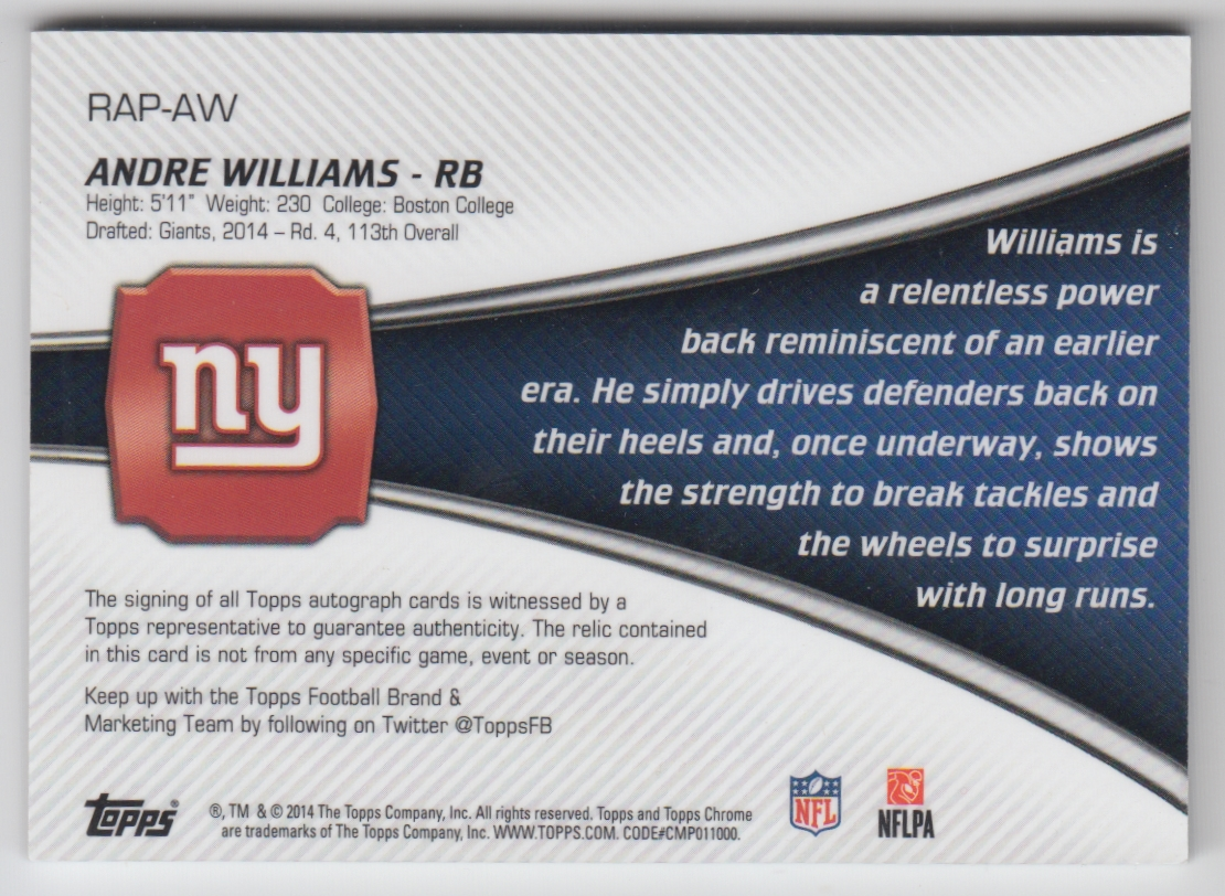 2014 Topps Chrome Rookie Autographs Patches #RAPAW Andre Williams back image