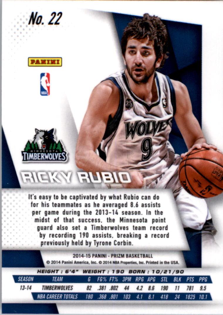 2014-15 Panini Prizm #22 Ricky Rubio back image
