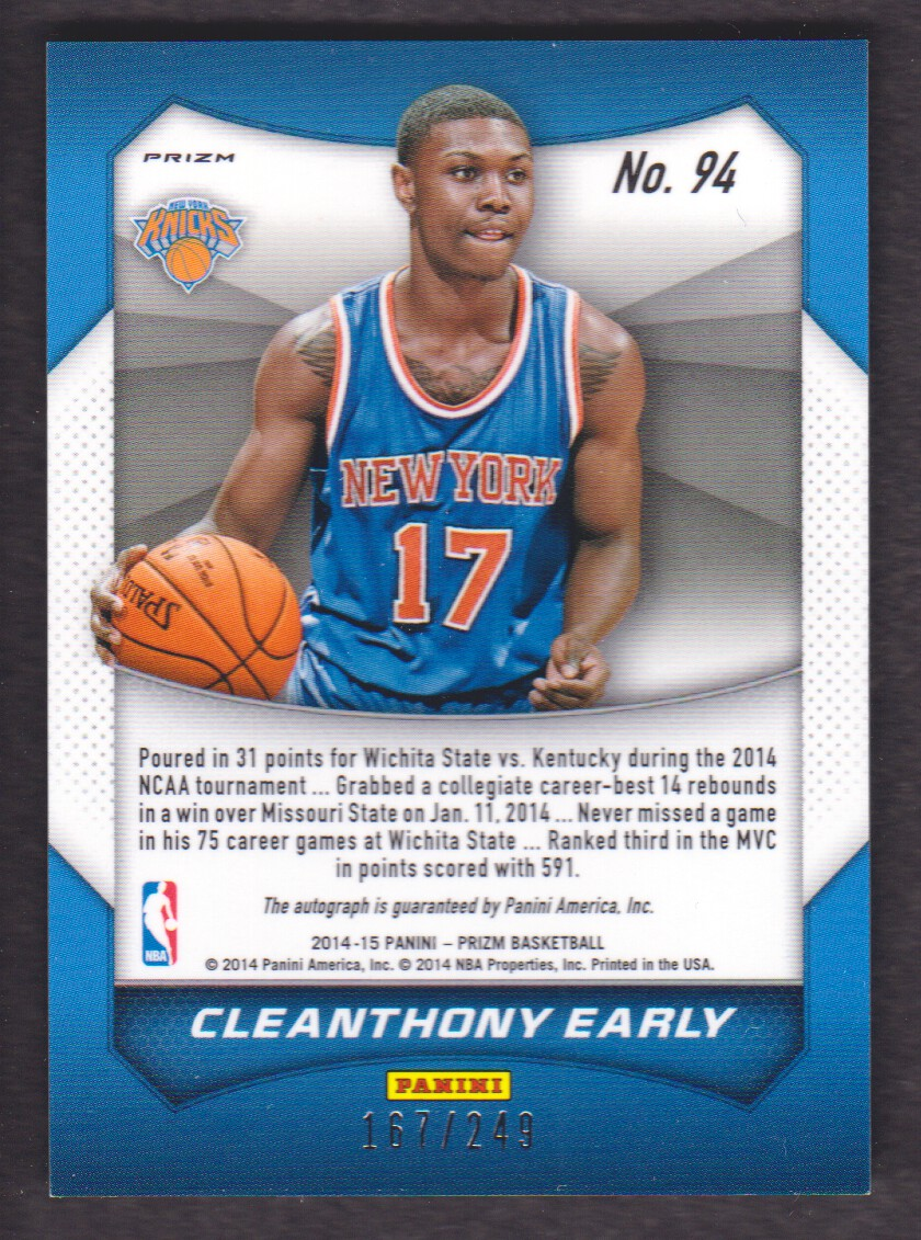 2014-15 Panini Prizm Autographs Prizms Blue Pulsar #94 Cleanthony Early/249 back image