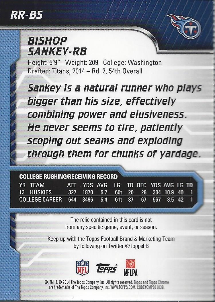 2014 Topps Chrome Rookie Relics Purple Refractors #RRBS Bishop Sankey back image