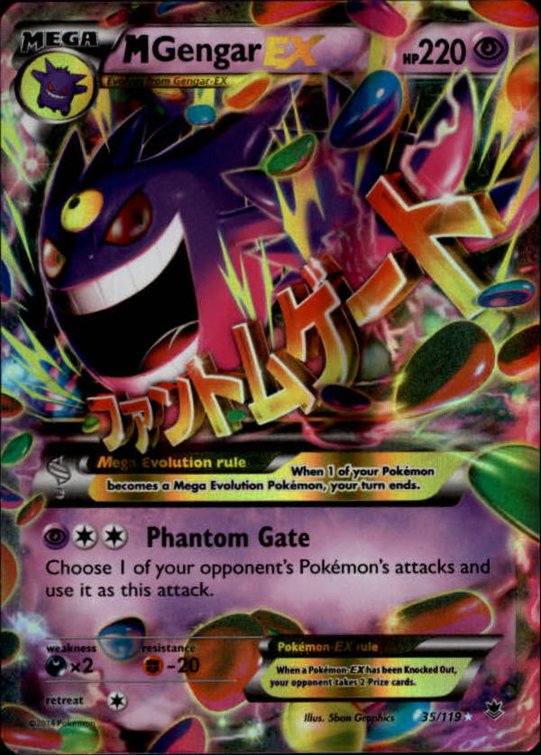 2014 Pokemon XY Phantom Forces #35 MegaGengar EX HOLO R