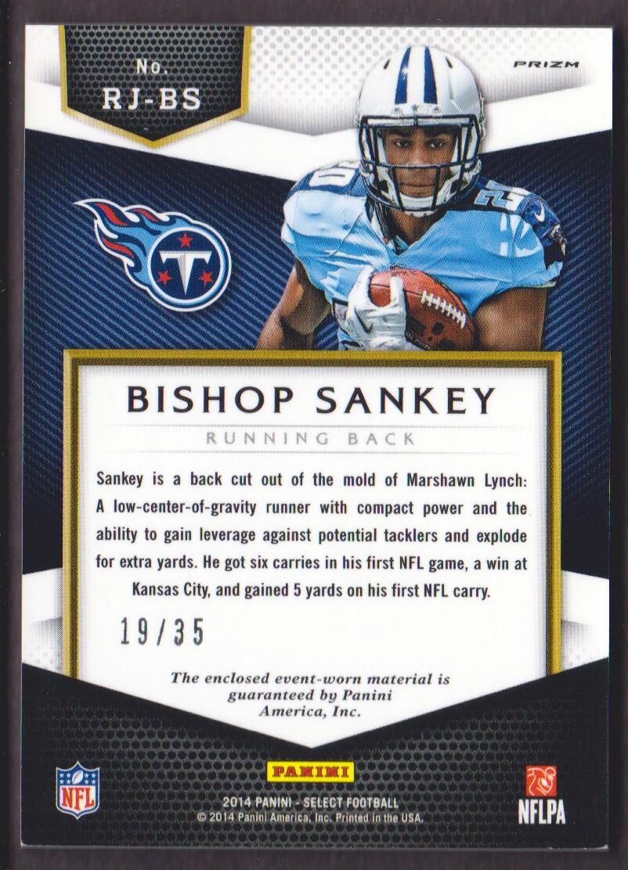 2014 Select Rookie Jerseys Prizm Purple Prime #RJBS Bishop Sankey back image