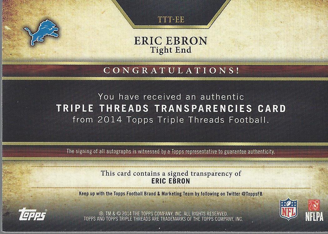 2014 Topps Triple Threads Transparencies Autographs #TTTEE Eric Ebron back image