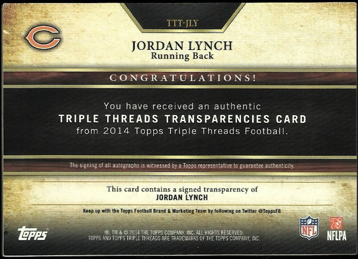 2014 Topps Triple Threads Transparencies Autographs #TTTJLY Jordan Lynch back image