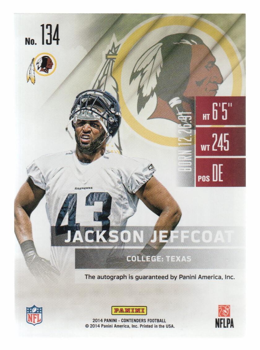 2014 Panini Contenders #134B Jackson Jeffcoat AU SP back image