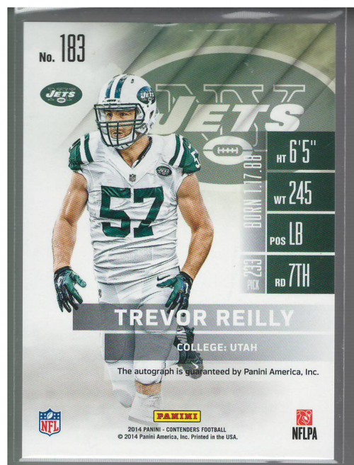 2014 Panini Contenders #183A Trevor Reilly AU* RC back image