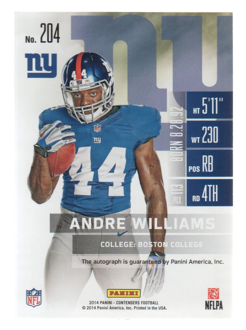2014 Panini Contenders #204B Andre Williams AU SP/looking straight) back image