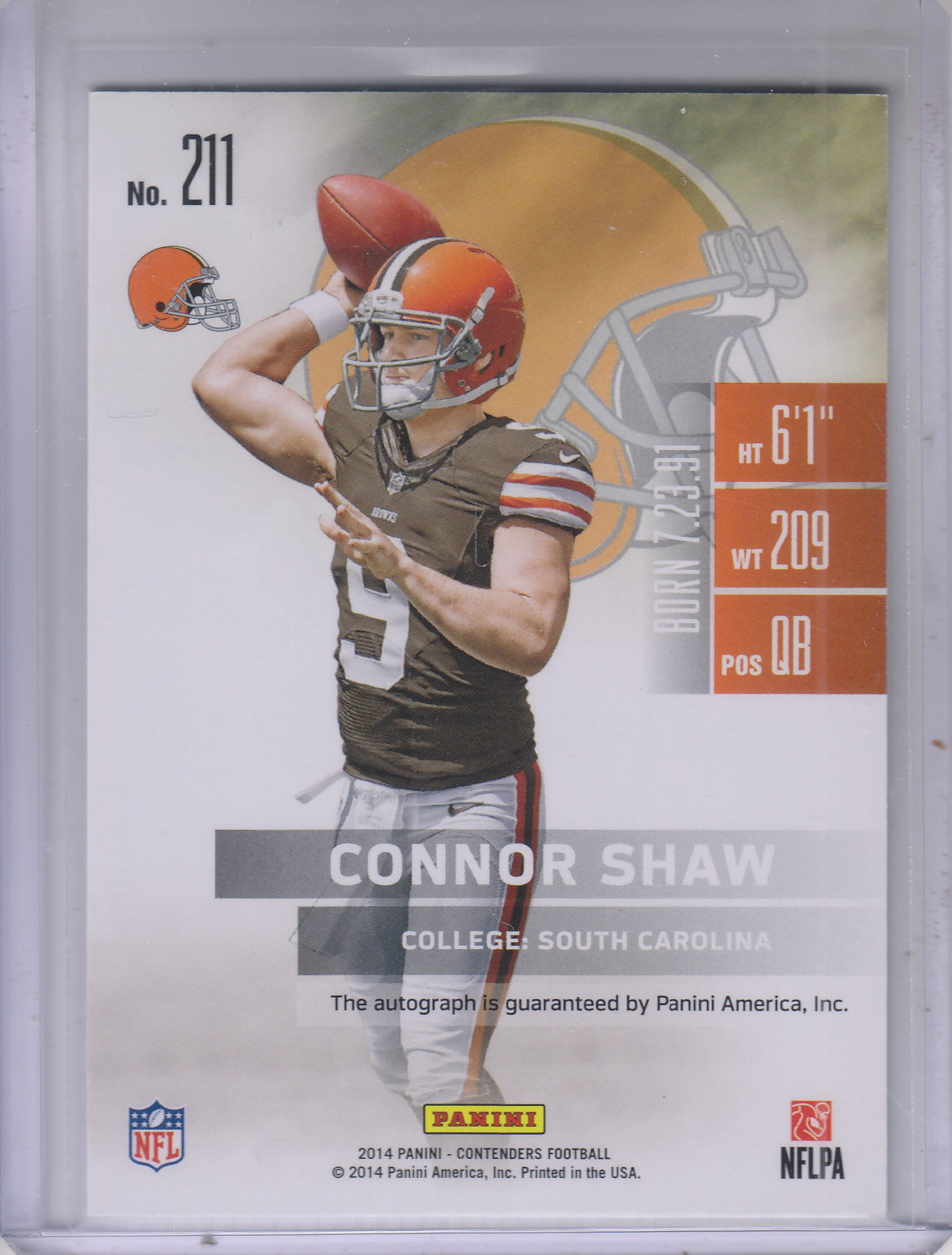 2014 Panini Contenders #211A Connor Shaw AU RC/(throwing) back image