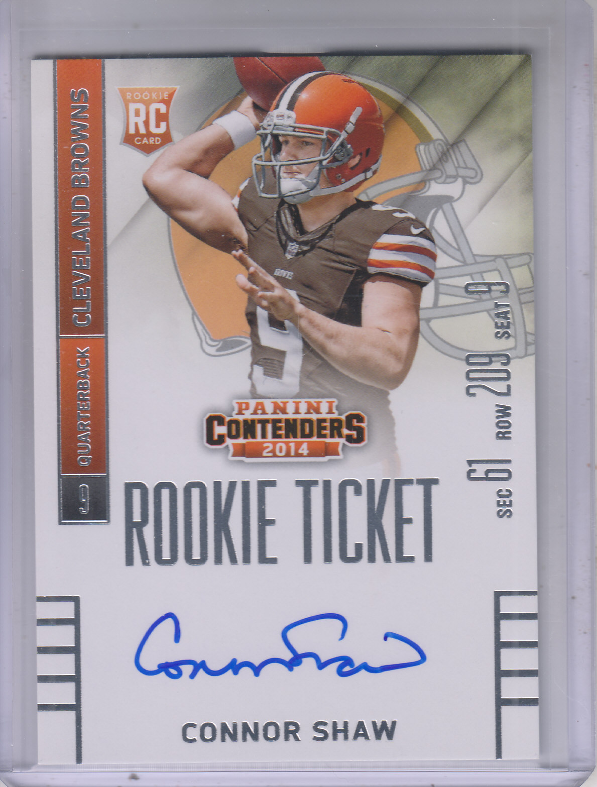 2014 Panini Contenders #211A Connor Shaw AU RC/(throwing)