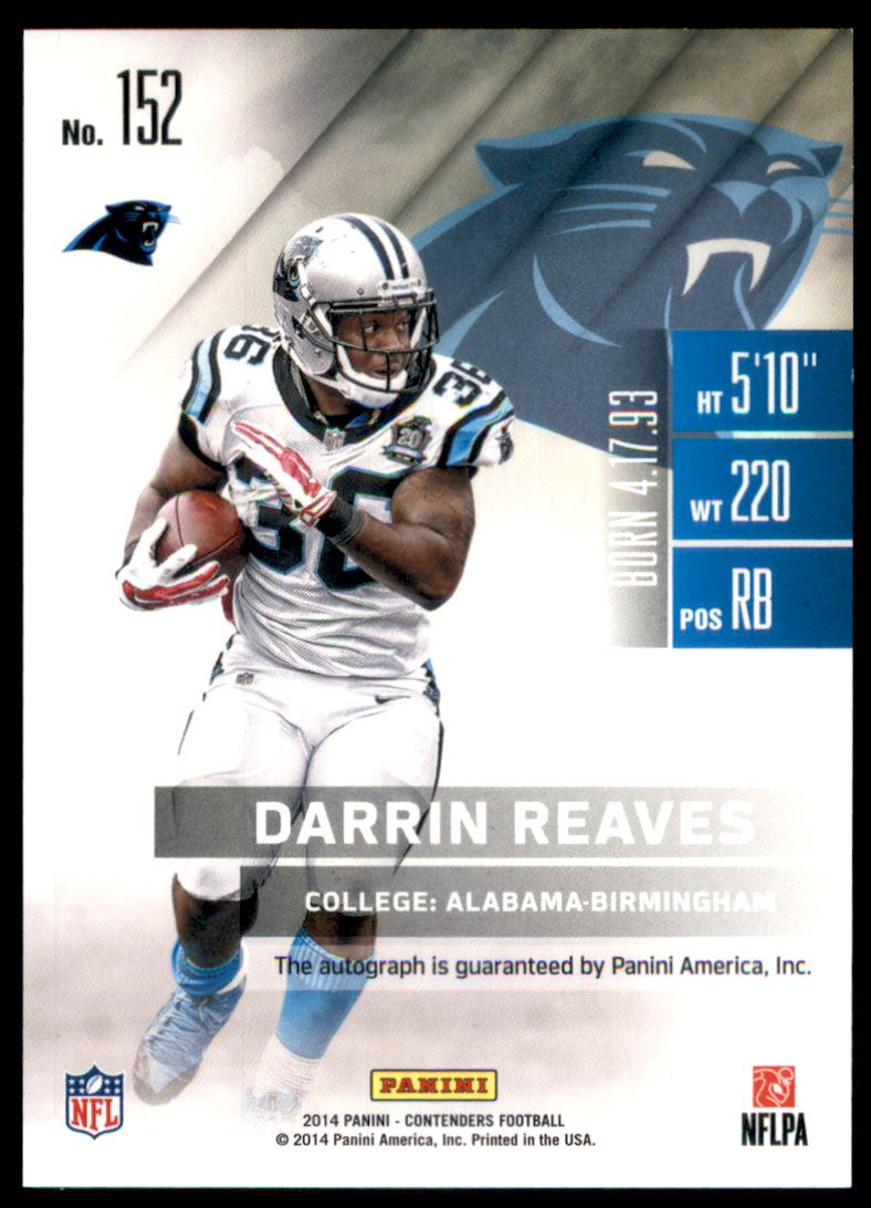 2014 Panini Contenders Playoff Ticket #152A Darrin Reaves AU back image