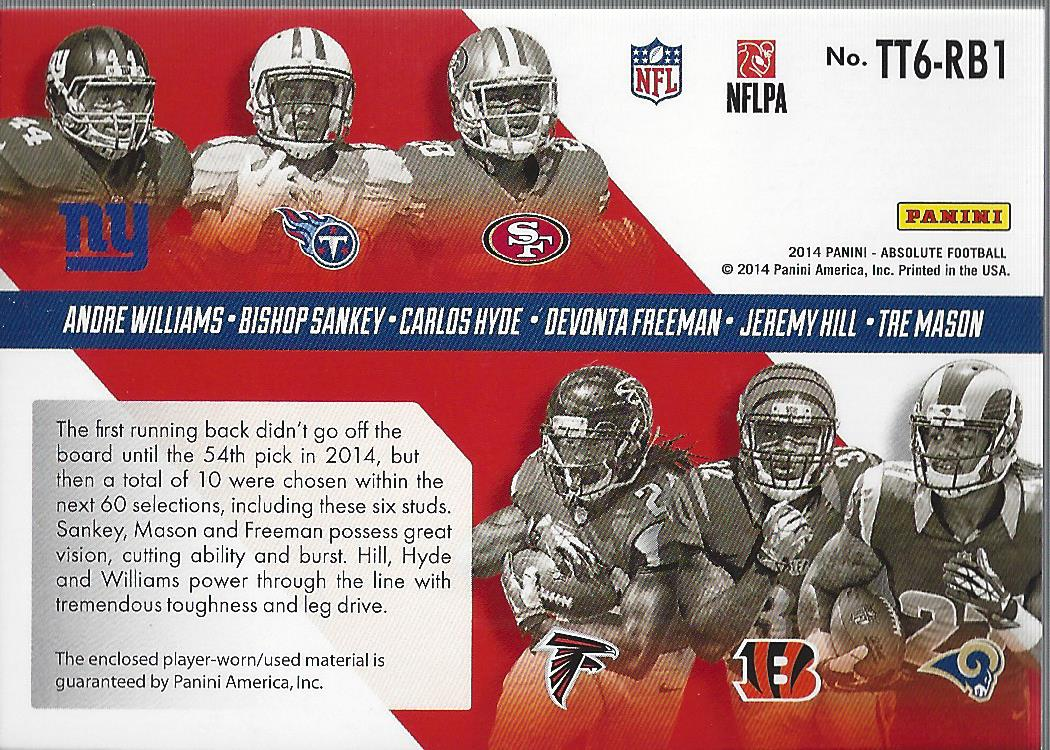 2014 Absolute Tools of the Trade Six Player #WSHFHM Andre Williams/Bishop Sankey/Carlos Hyde/Devonta Freeman/Jeremy Hill/Tre Mason back image