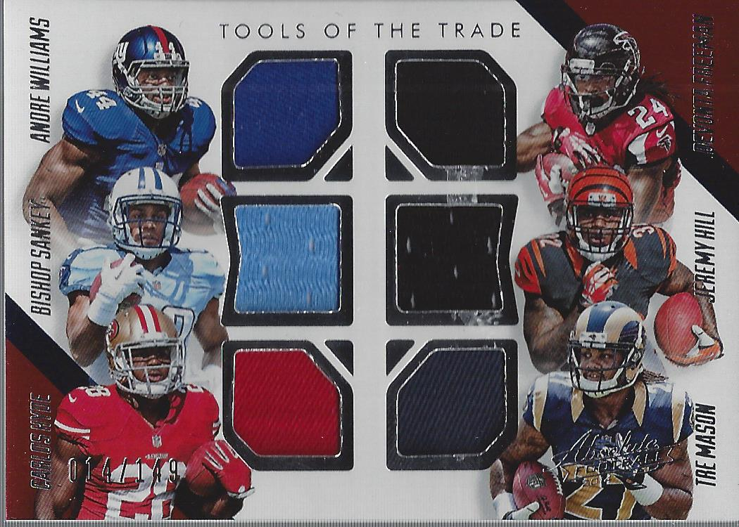 2014 Absolute Tools of the Trade Six Player #WSHFHM Andre Williams/Bishop Sankey/Carlos Hyde/Devonta Freeman/Jeremy Hill/Tre Mason