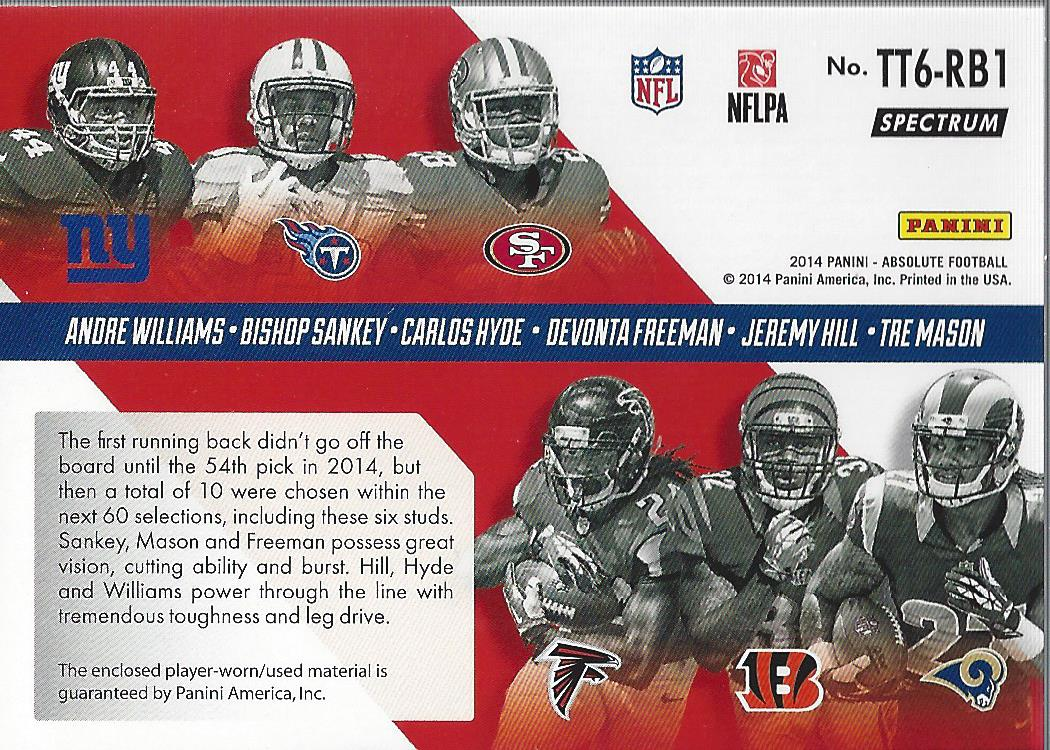 2014 Absolute Tools of the Trade Six Player Spectrum Gold #WSHFHM Andre Williams/Bishop Sankey/Carlos Hyde/Devonta Freeman/Jeremy Hill/Tre Mason back image