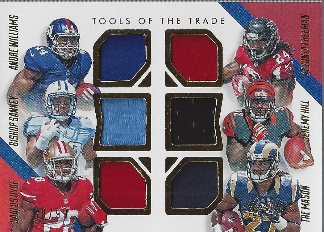2014 Absolute Tools of the Trade Six Player Spectrum Gold #WSHFHM Andre Williams/Bishop Sankey/Carlos Hyde/Devonta Freeman/Jeremy Hill/Tre Mason