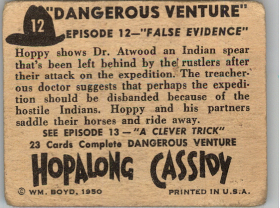 1950 Hopalong Cassidy Topps #12 False Evidence back image