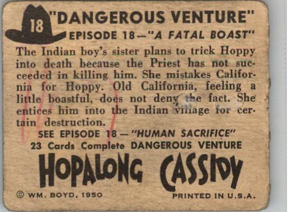 1950 Hopalong Cassidy Topps #18 A Fatal Boast back image