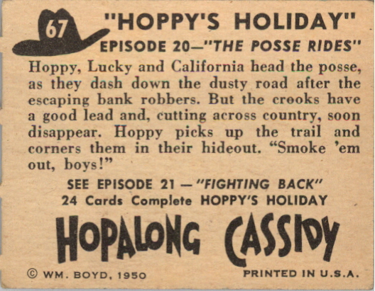 1950 Hopalong Cassidy Topps #67 The Posse Rides back image