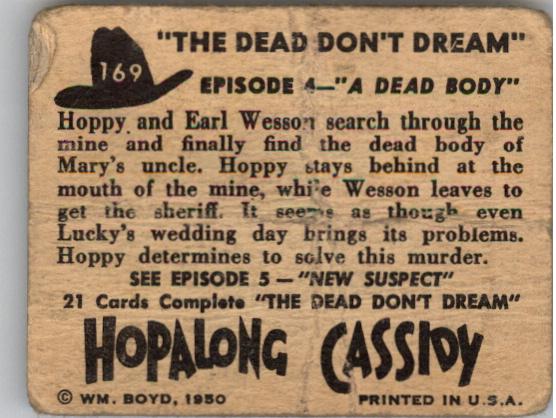 1950 Hopalong Cassidy Topps #169 A Dead Body back image
