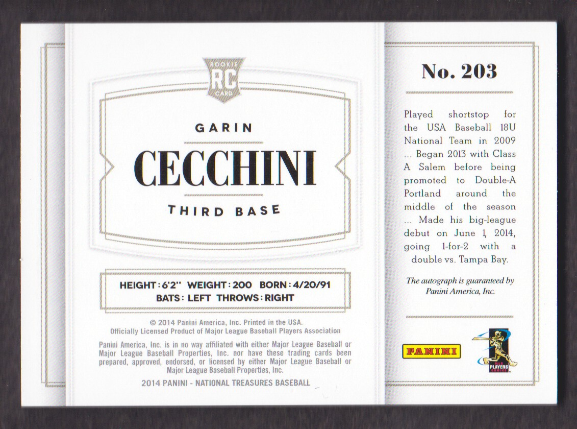2014 Panini National Treasures Rookie Material Signatures Purple #203 Garin Cecchini back image