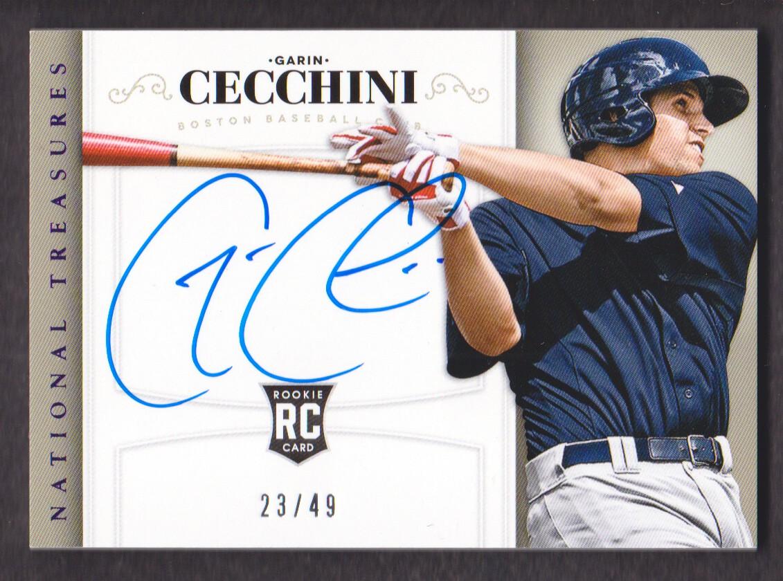 2014 Panini National Treasures Rookie Material Signatures Purple #203 Garin Cecchini