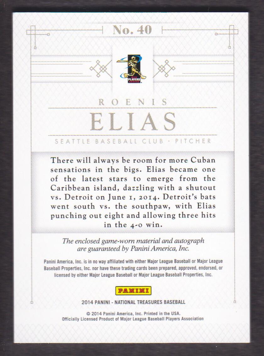 2014 Panini National Treasures Rookie Silhouette Autographs #40 Roenis Elias back image