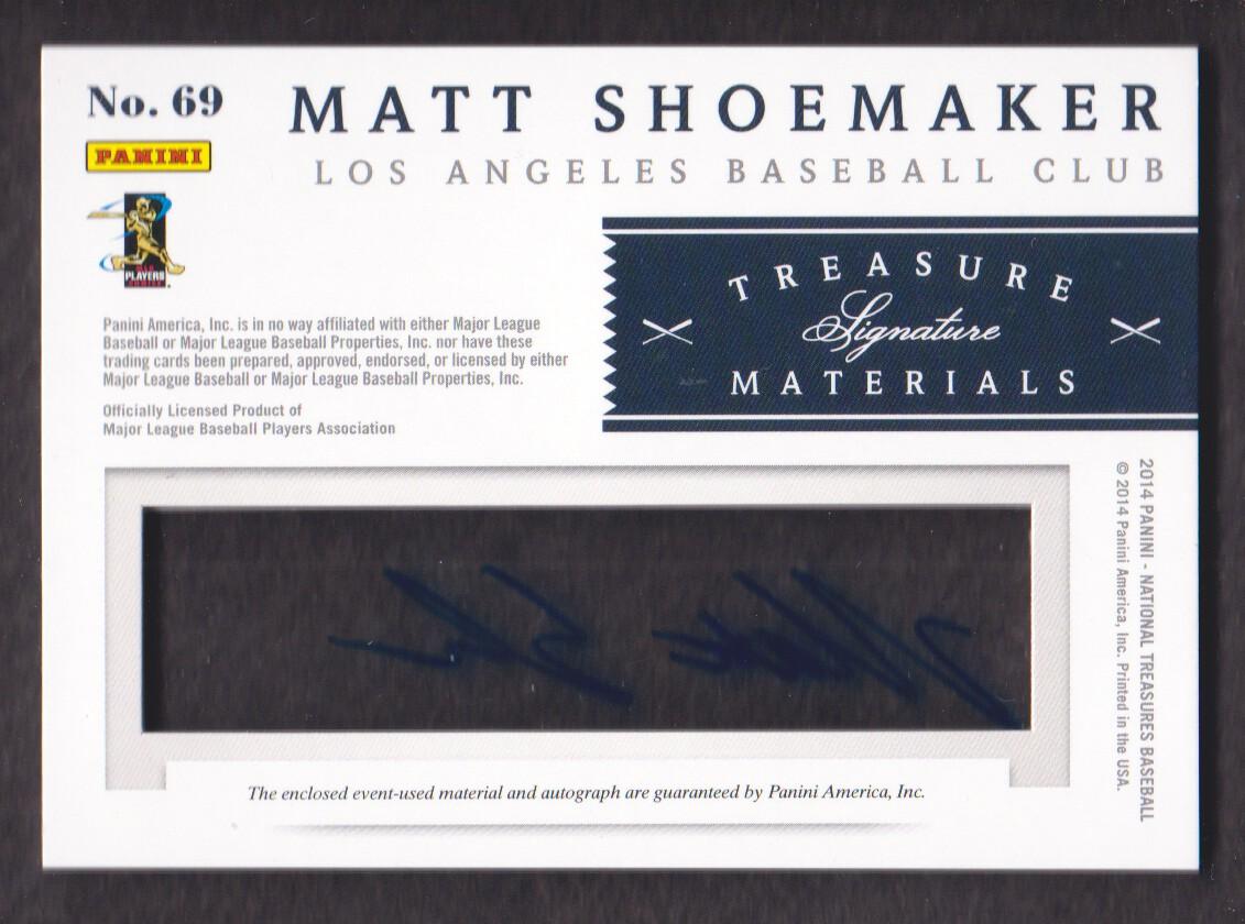2014 Panini National Treasures Treasure Signature Materials #69 Matt Shoemaker/99 back image