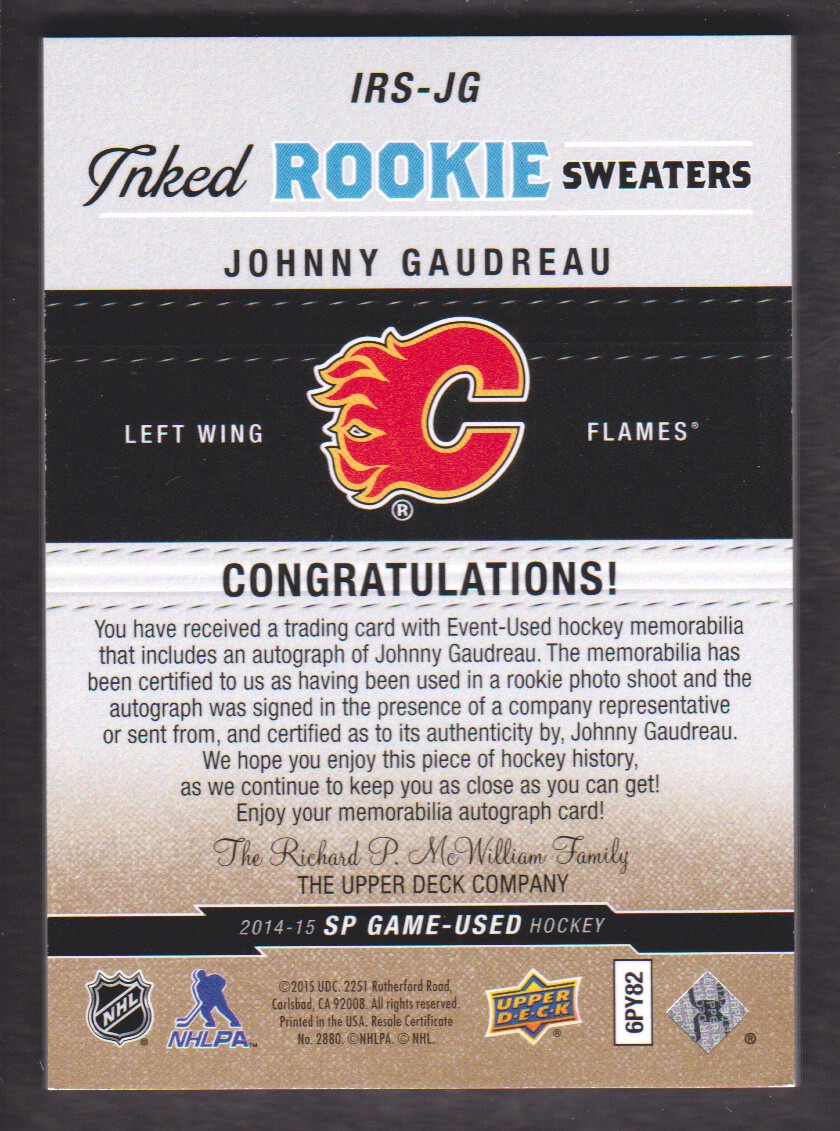 2014-15 SP Game Used Inked Rookie Sweaters Patches #IRSJG Johnny Gaudreau back image