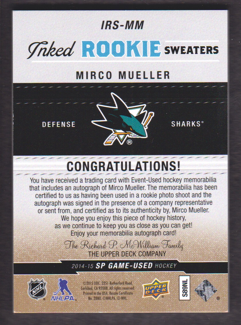 2014-15 SP Game Used Inked Rookie Sweaters Patches #IRSMM Mirco Mueller back image