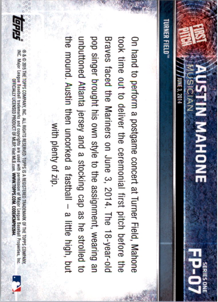 2015 Topps First Pitch #FP07 Austin Mahone back image