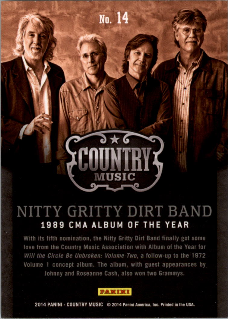 2015 Country Music Award Winners Green #14 Nitty Gritty Dirt Band back image
