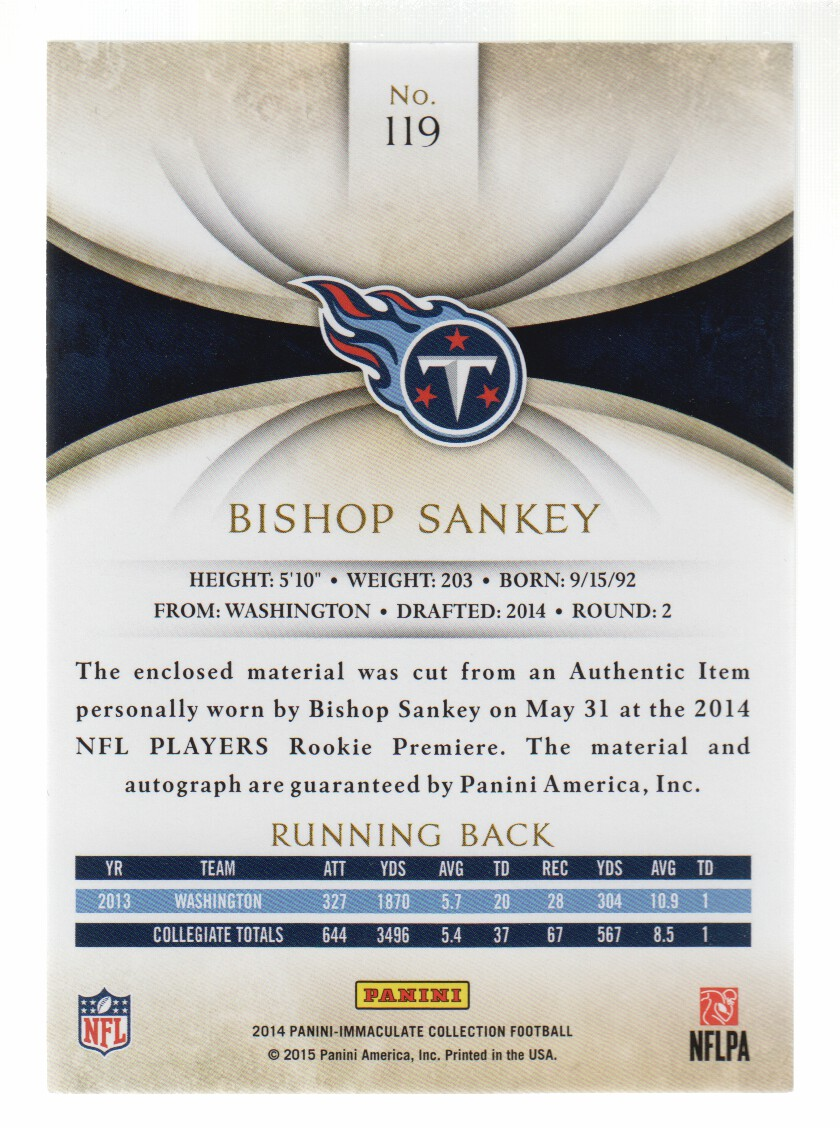 2014 Immaculate Collection #119 Bishop Sankey JSY AU RC back image