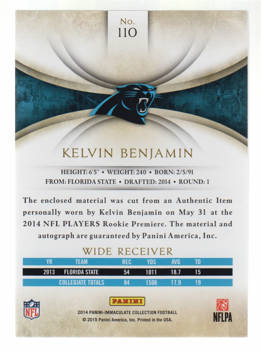2014 Immaculate Collection Gold #110 Kelvin Benjamin JSY AU back image