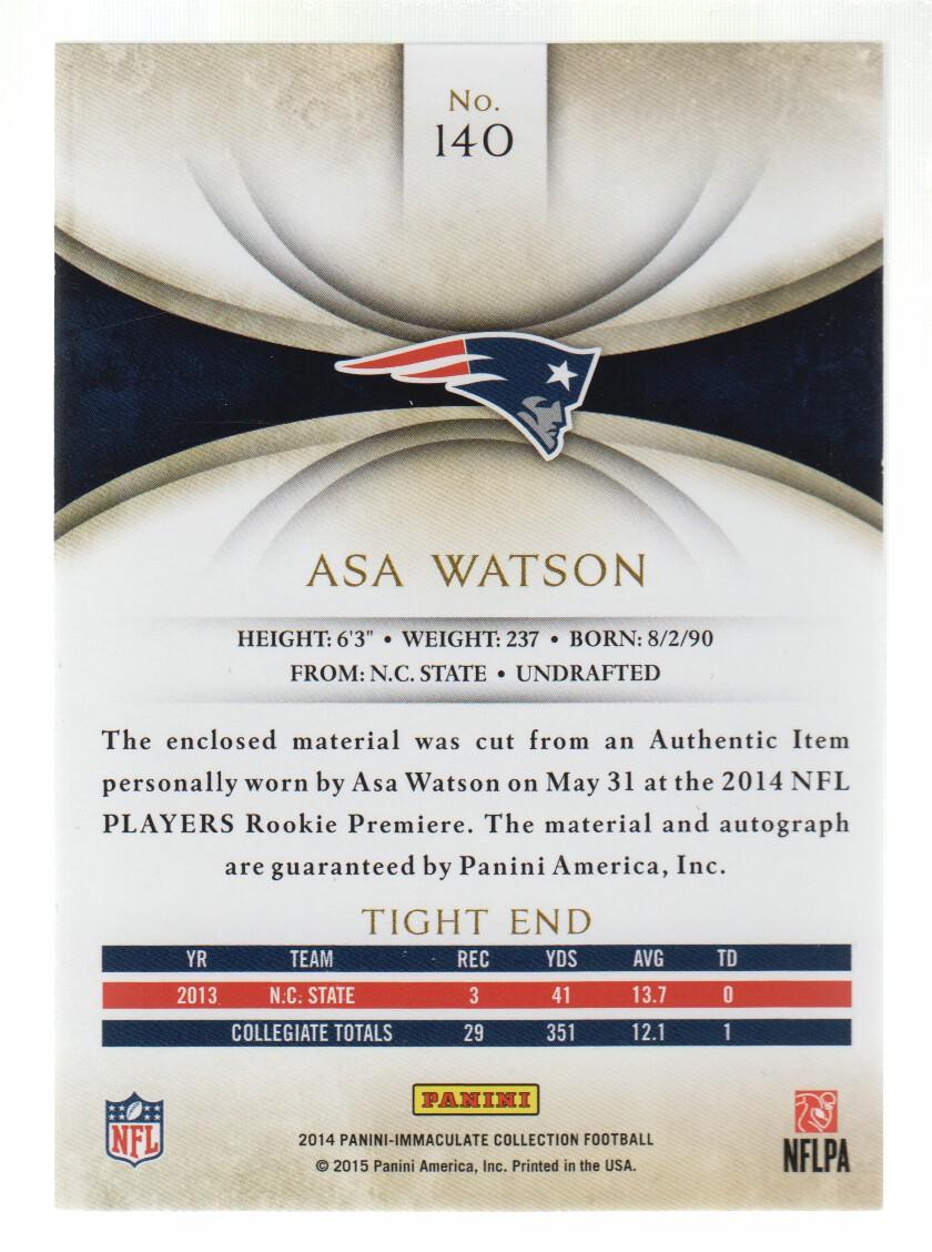 2014 Immaculate Collection Gold #140 Asa Watson JSY AU back image
