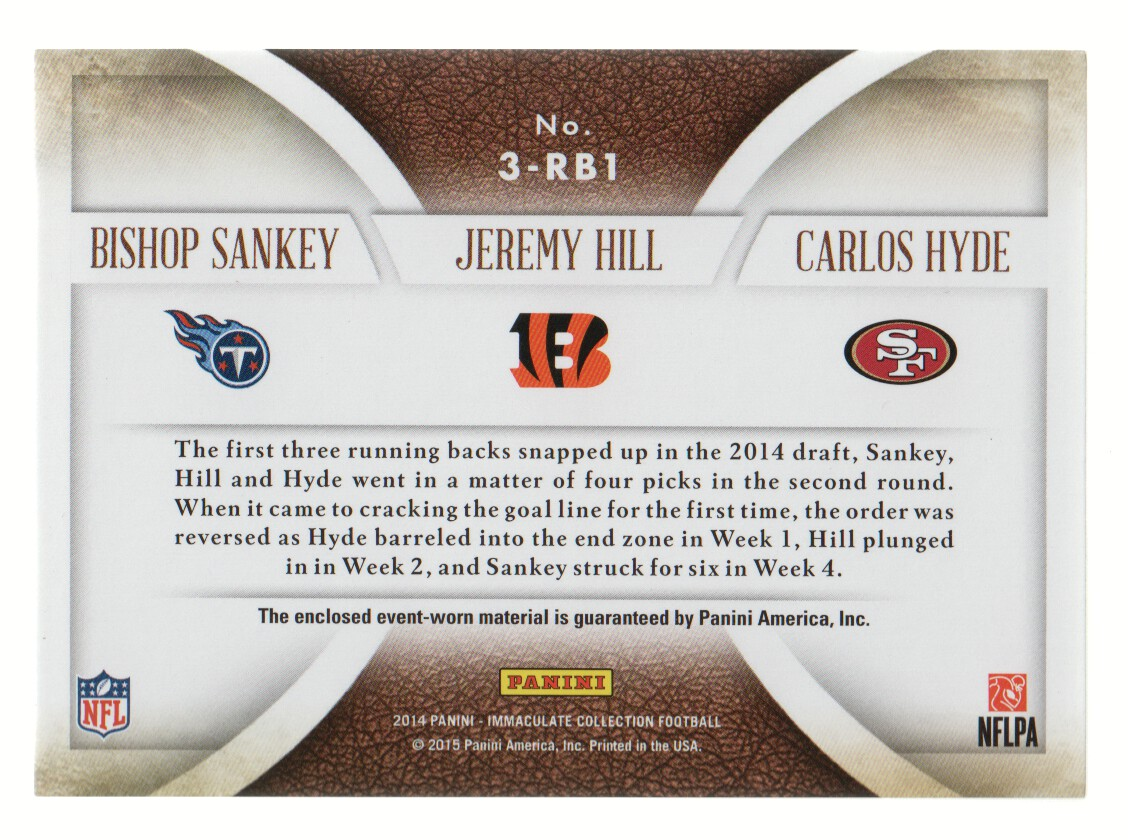 2014 Immaculate Collection Trios Jerseys #8 Bishop Sankey/Carlos Hyde/Jeremy Hill/99 back image