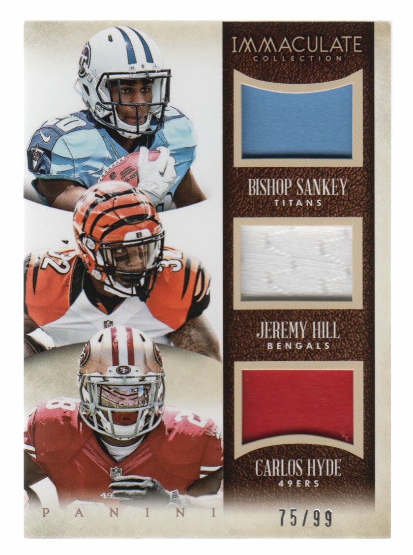 2014 Immaculate Collection Trios Jerseys #8 Bishop Sankey/Carlos Hyde/Jeremy Hill/99