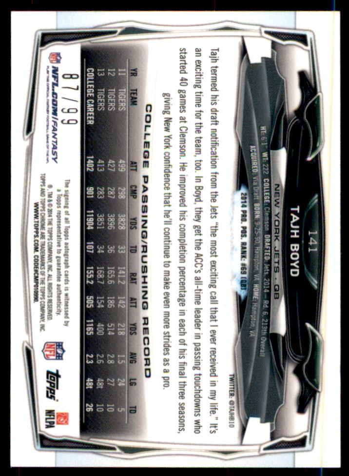 2014 Topps Chrome Mini Rookie Autographs Camo Refractors #141 Tajh Boyd back image