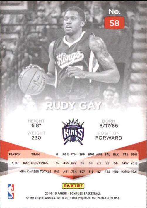 Details about 2014-15 Elite Purple Sacramento Kings Basketball Card #58  Rudy Gay