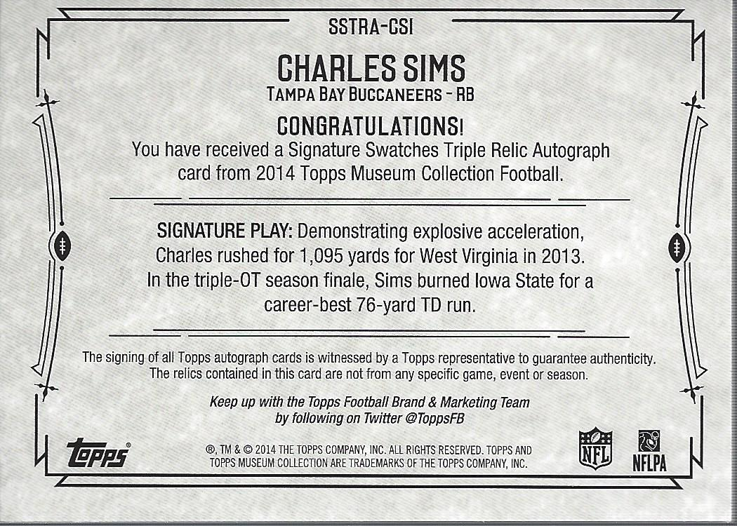 2014 Topps Museum Collection Signatures Swatches Triple Relic Autographs #SSTRACSI Charles Sims/200 back image