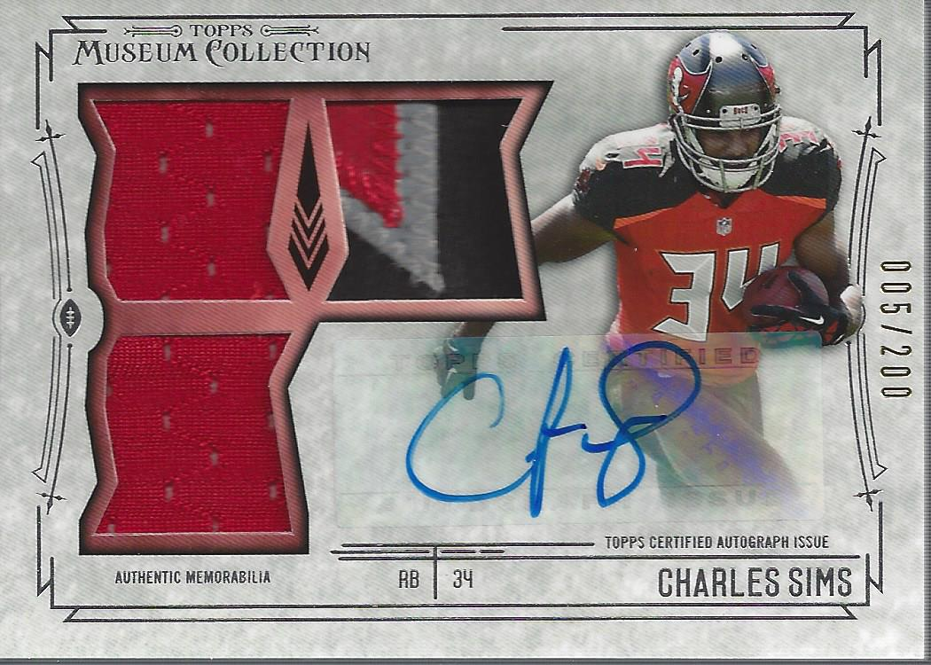 2014 Topps Museum Collection Signatures Swatches Triple Relic Autographs #SSTRACSI Charles Sims/200