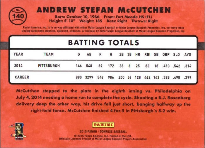 2015 Donruss Stat Line Season #140 Andrew McCutchen/400 back image