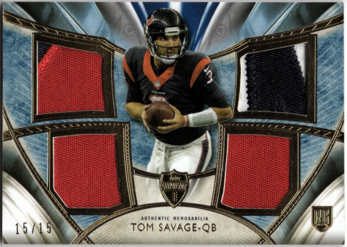 2014 Topps Supreme Rookie Quad Relics Blue TOM SAVAGE Jersey #/15 ...