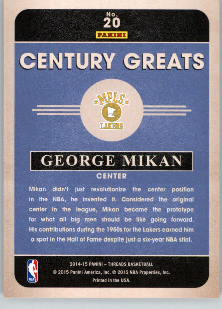 2014-15 Panini Threads Century Greats Century Proof Gold #20 George Mikan back image