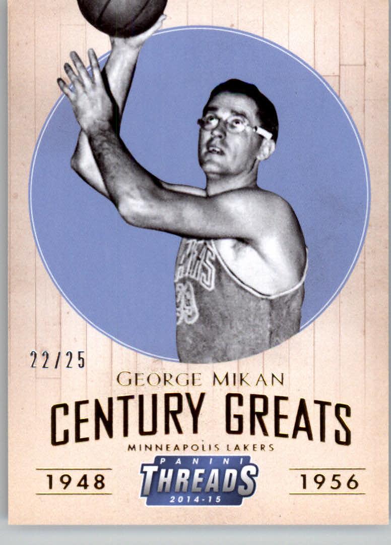 2014-15 Panini Threads Century Greats Century Proof Gold #20 George Mikan