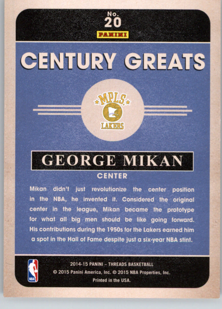 2014-15 Panini Threads Century Greats Century Proof Red #20 George Mikan back image