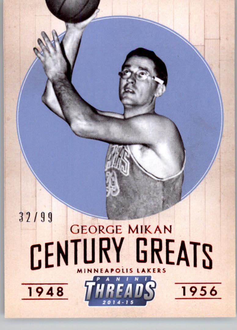 2014-15 Panini Threads Century Greats Century Proof Red #20 George Mikan