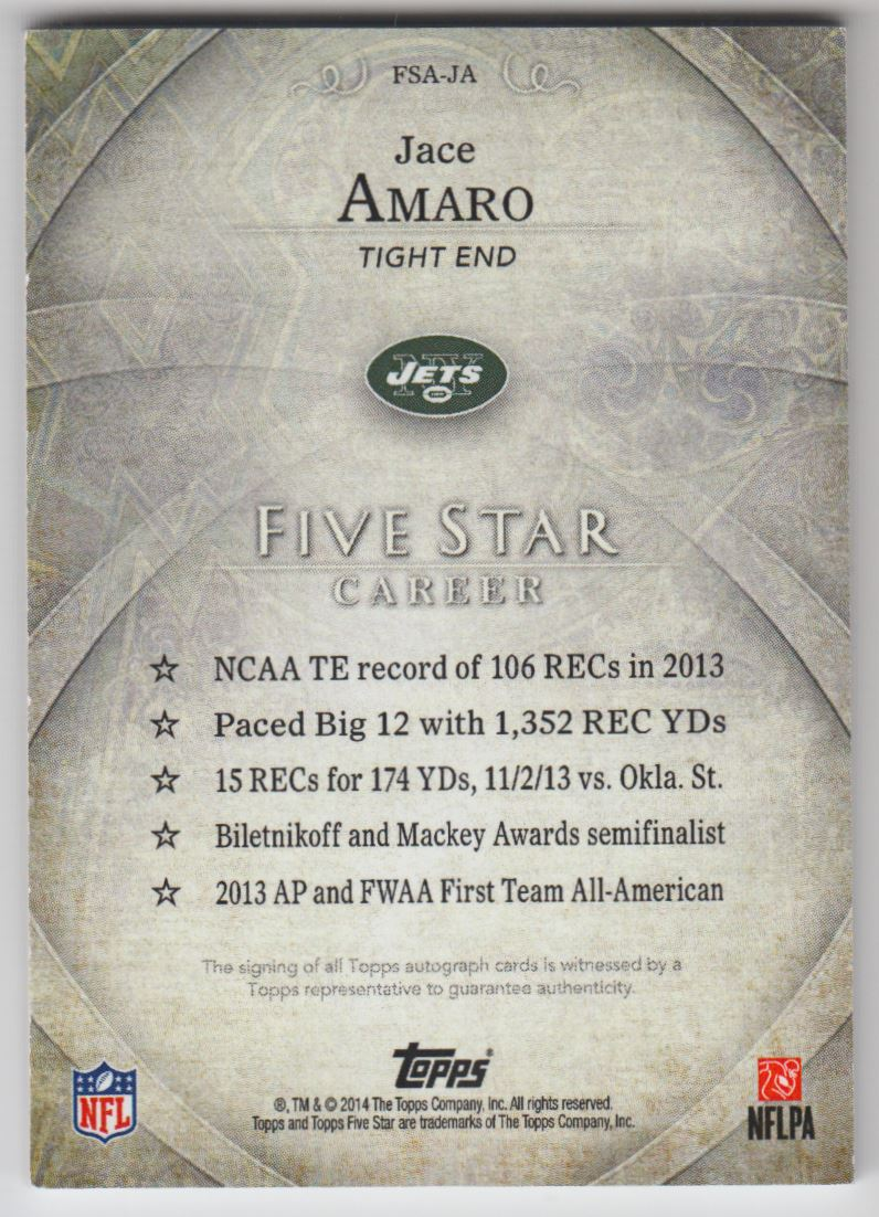 2014 Topps Five Star Autographs Rainbow #FSAJA Jace Amaro back image