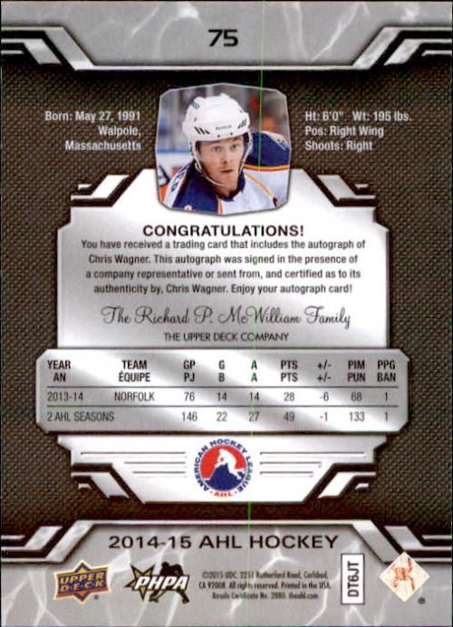 2014-15 Upper Deck AHL Autographs #75 Chris Wagner back image